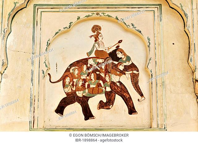 Riding elephant, illustration, wall relief, temple, Galta gorge, Jaipur, Rajasthan, northern India, Asia