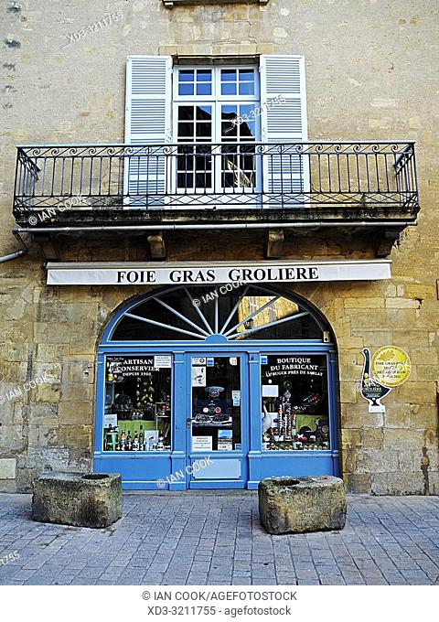 fois gras shop, Sarlat-la-Caneda, Dordogne Department, Nouvelle-Aquitaine, France