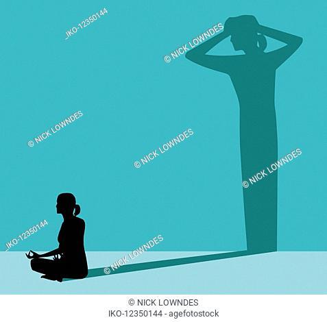Woman practising yoga to combat stress