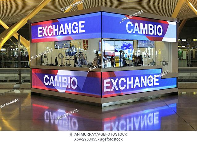 Money Exchange Booth Office Cambio Bureau De Change Terminal 5 Madrid Airport Spain