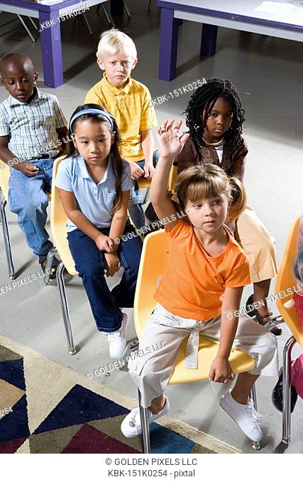Young students sitting in a classroom