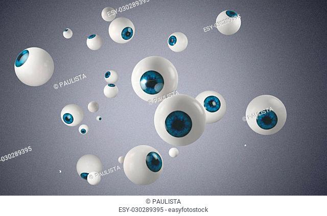 group of blue eyeballs on grey background