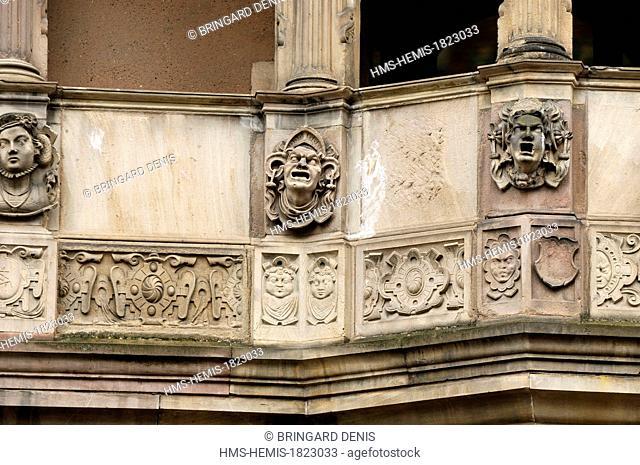 France, Haut Rhin, Alsace Wine Route, Colmar, Place de la Cathedrale, Guardhouse of 1575, loggia
