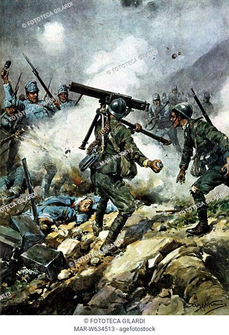 I GUERRA MONDIALE Battaglia del Piave. Disegno di Achille Beltrame 'Due sergenti portano in salvo una mitragliatrice tra un nugolo di nemici' Copertina di un...