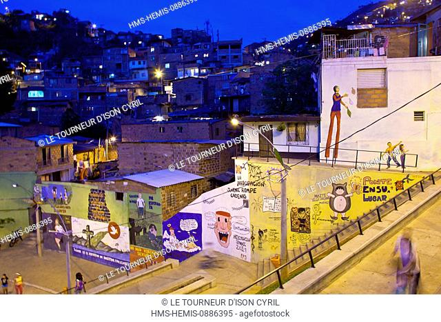 Colombia, Antioquia Department, Medellin, at night, one of the poor areas of the Northeast side of the city