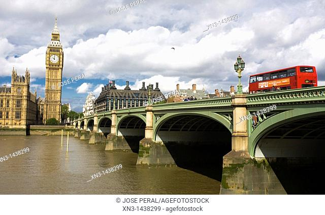Big Ben, clock tower, The Houses of Parliament, Westminster Bridge, The River Thames, London, England, UK