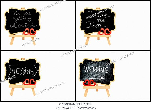 Photo collage of wedding symbols, wooden easel mini blackboards with chalk surface with text WEDDING and SAVE THE DATE