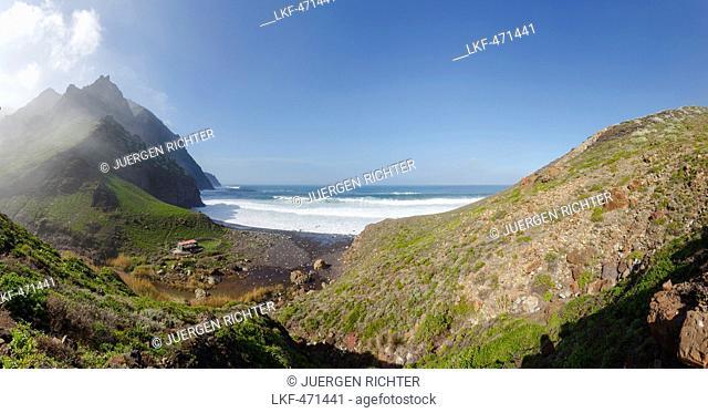 Barranco de Afur, canyon near Afur, Playa de Tamadiste, beach, Las Montanas de Anaga, natural preserve, Parque Rural de Anaga, Atlantic ocean, Tenerife