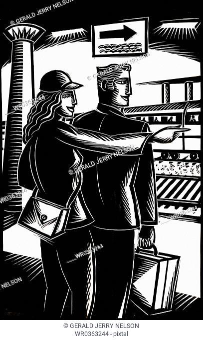 man and woman at train station