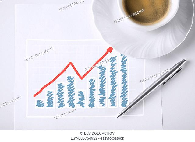 business concept - sketch with growing chart , arrow and coffee