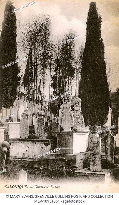 Thessaloniki, Greece - Turkish cemetery outside Yeni-Kapou next to the Mevlevidon (Mevlevi Dervish) teke