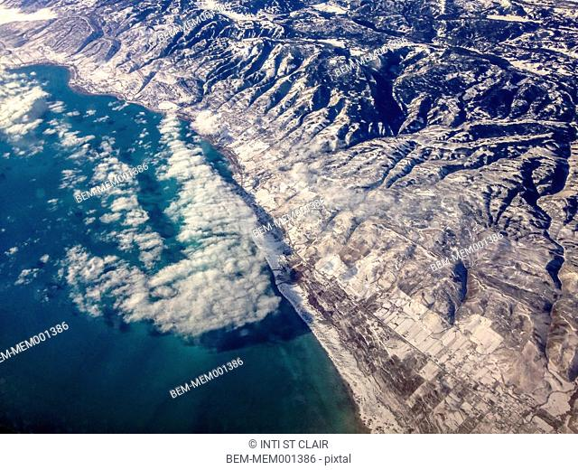 Aerial view of rocky mountain landscape and coastline