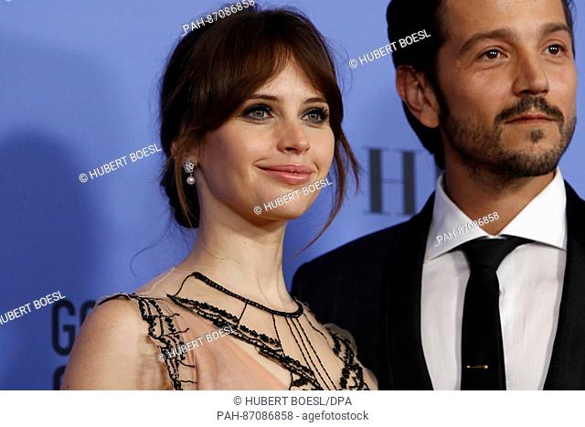 Felicity Jones and Diego Luna pose in the press room of the 74th Annual Golden Globe Awards, Golden Globes, in Beverly Hills, Los Angeles, USA