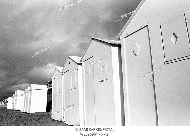 Row of beach huts at Cabourg, France