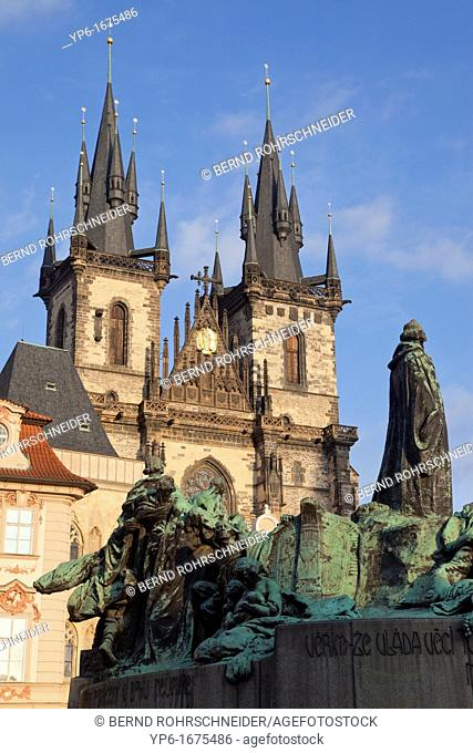 Tyn Church and Jan Hus Memorial, Prague, Czech Republic