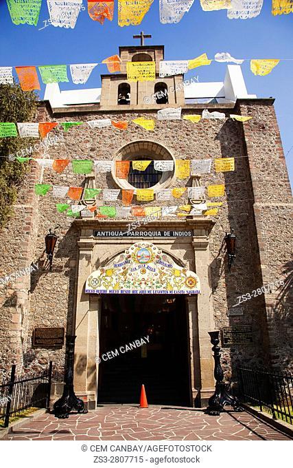 View to the Antigua Parroquia de Indios church, Mexico City, Mexico, Central America