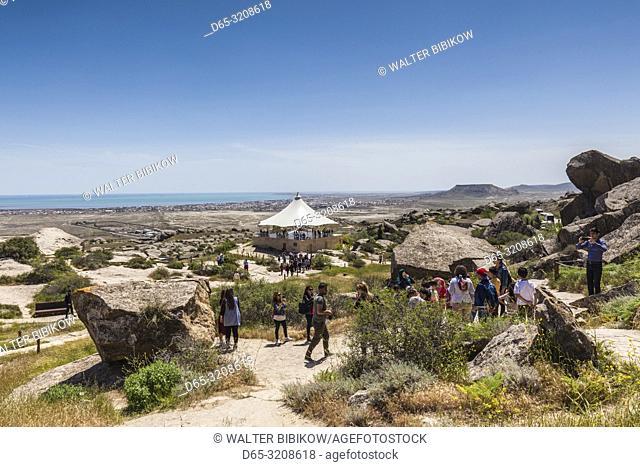 Azerbaijan, Qobustan, Qobustan Petroglyph Reserve, Petroglyph Trail with outdoor tent, NR