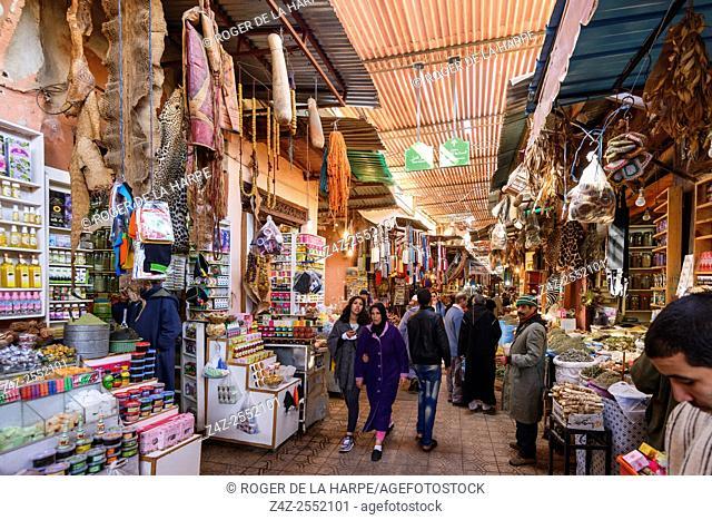 The Marrakesh Souk near the Jemaa el-Fnaa or Djemaa el Fna Square. Marrakesh or Marrakech. Morocco