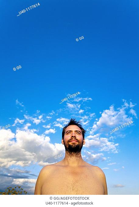 Portrait of a man with no shirt