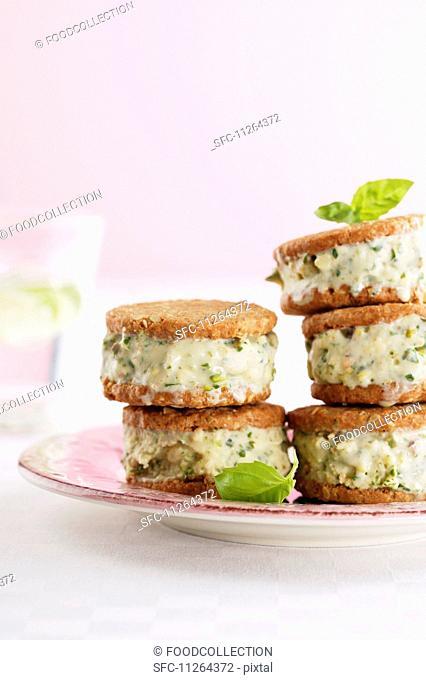 Ice cream sandwiches made with basil ice cream