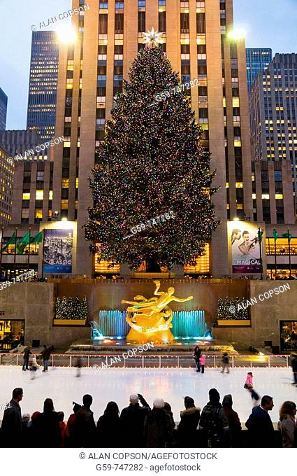 USA New York City Manhattan Rockefeller Plaza Icerink and Christmas Tree