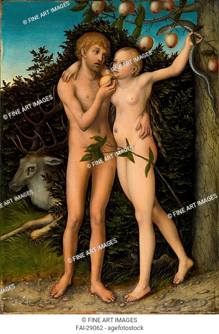 The Fall of Man by Cranach, Lucas, the Elder (1472-1553)/Oil on canvas/Renaissance/after 1537/Germany/Art History Museum, Vienne/53,3x37