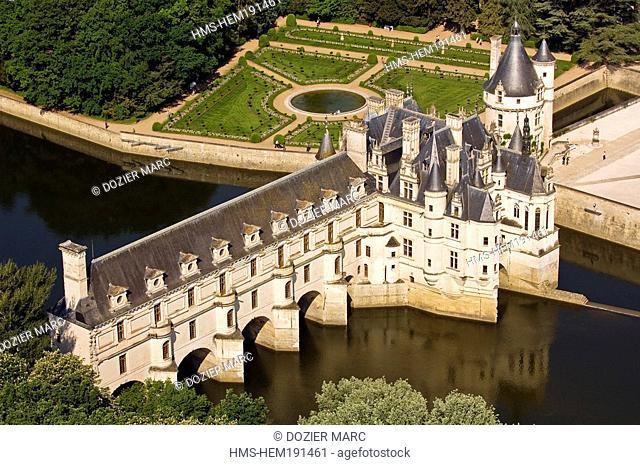 France, Indre et Loire, Chateau de Chenonceau with Renaissance style on Cher river banks aerial view