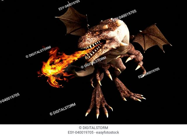 Fire breathing dragon on a black background. Room for text or copy space