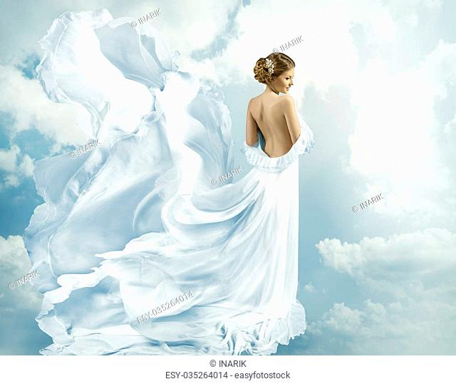 Women Fantasy Flying Gown, Waving Dress Blowing on Wind, blue clouds sky