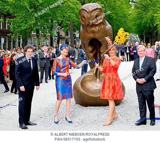 Belgian Queen Mathilde (2nd L) and Dutch Queen Maxima attend the opening of the exhibition 'Vormidable' in The Hague, The Netherlands, 20 May 2015