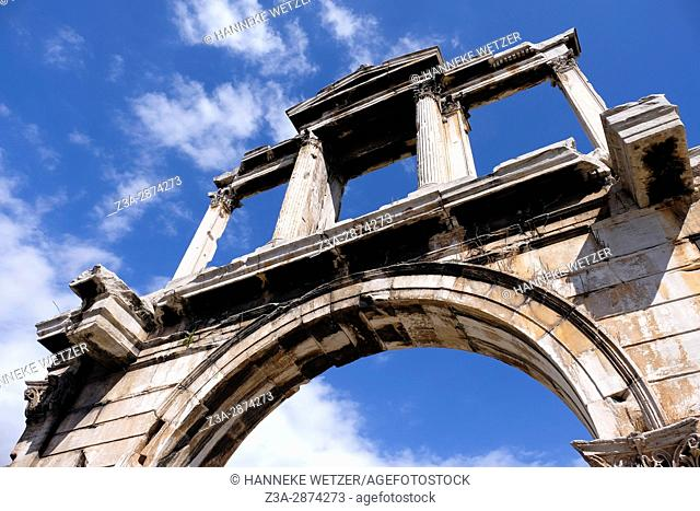 The Arch of Hadrian, most commonly known in Greek as Hadrian's Gate, is a monumental gateway resembling – in some respects – a Roman triumphal arch