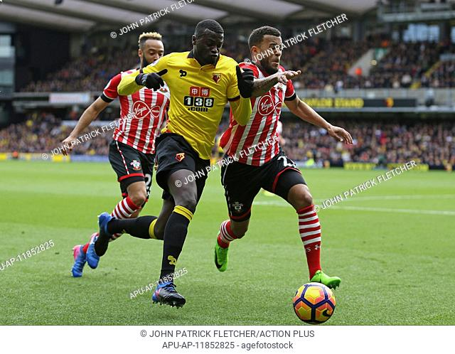 2017 EPL Premier League Watford v Southampton Mar 4th. March 4th 2017, Vicarage Road, Watford, Herts, England; EPL Premier League football