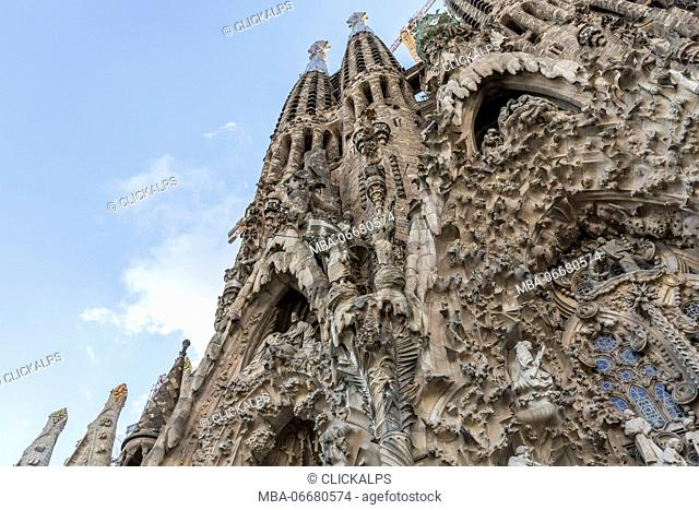 Spain, Barcelona, Sagrada Familia cathedral