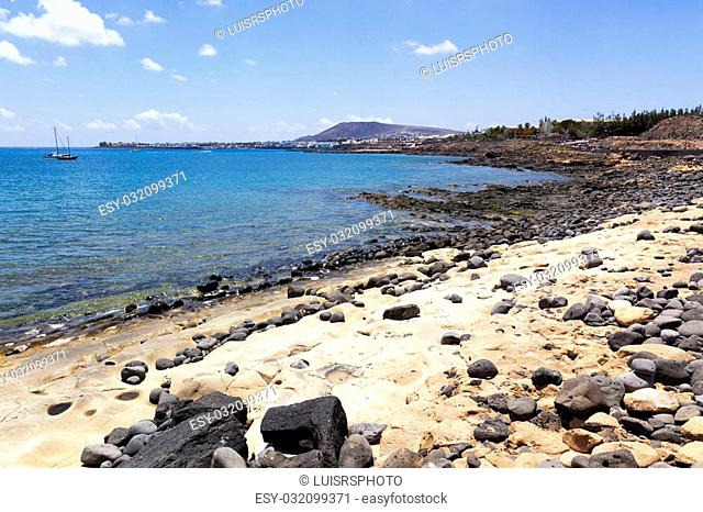 Coastal view of Playa Blanca, located at the south part of Lanzarote