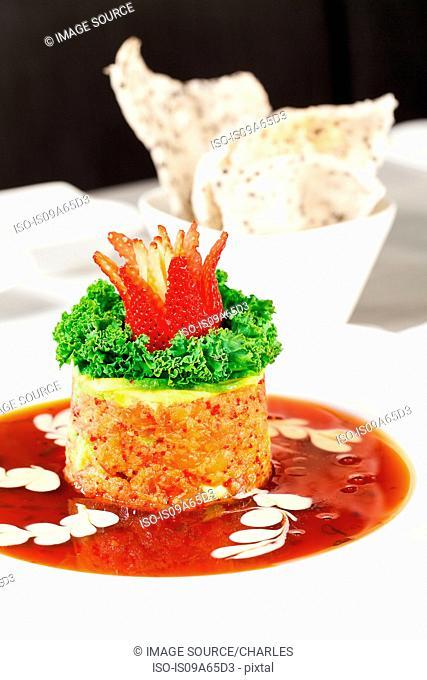 Close up of baked crab dish