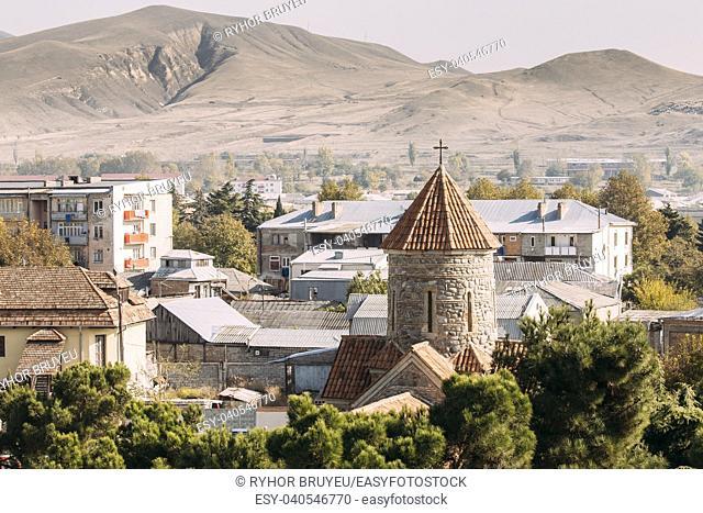 Gori, Shida Kartli Region, Georgia, Eurasia. Temple of the Holy Archangels Church In Sunny Autumn Day