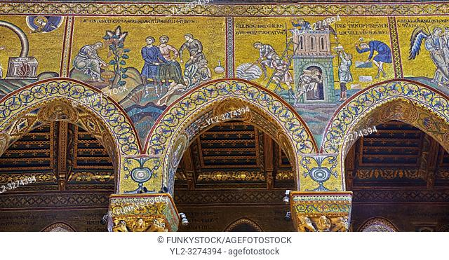 North wall mosaics depicting the building of the tower of Babel in the Norman-Byzantine medieval cathedral of Monreale, province of Palermo, Sicily, Italy