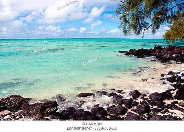 Turquoise lagoon of Ile aux Cerfs, Mauritius