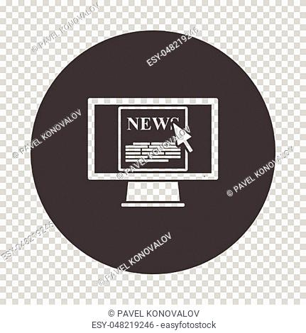 Monitor with news icon. Subtract stencil design on tranparency grid. Vector illustration