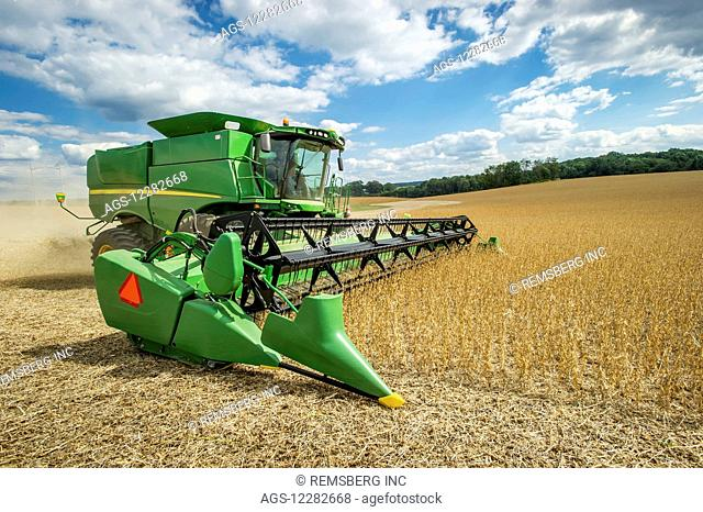 Soybean harvester in a soybean field; Laytonsville, Maryland, United States of America