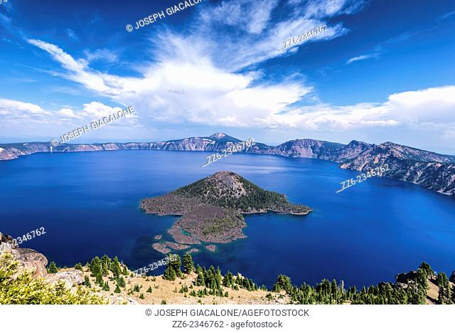 View of Wizard Island and Crater Lake. Crater Lake National Park, Oregon, United States