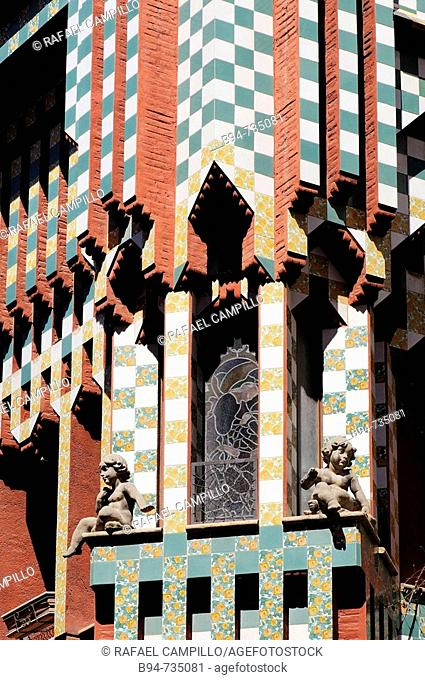 Detail of Casa Vicens (1878-1880) by Gaudi, Barcelona. Catalonia, Spain