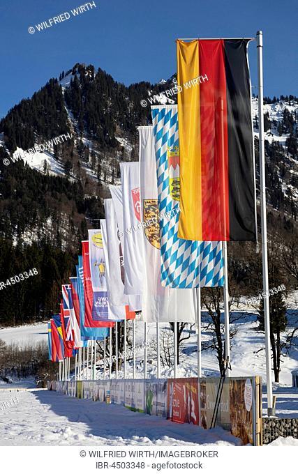 Various flags, Nordic-Aktiv-Zentrum, Oberstdorf, Allgäu Alps, Allgäu, Bavaria, Germany