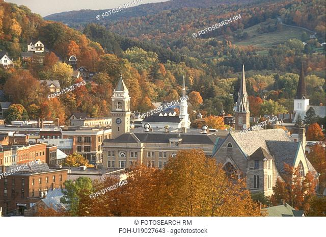 fall, Montpelier, VT, Vermont, Aerial view of the city of Montpelier in the autumn