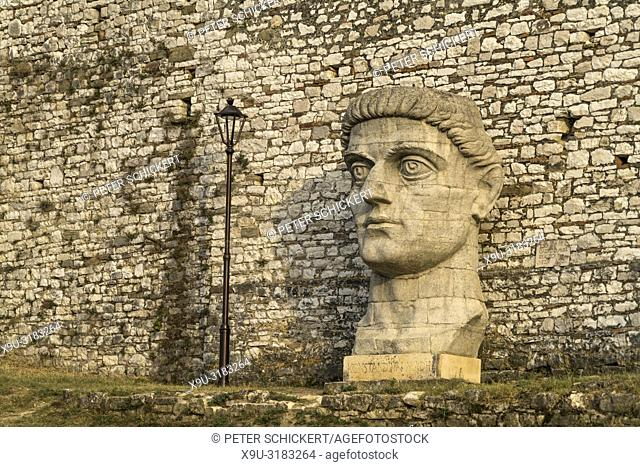 The huge head of Konstandini I Madhë / Emperor Constantin the great, Berat Castle, Berat, Albania, Europe