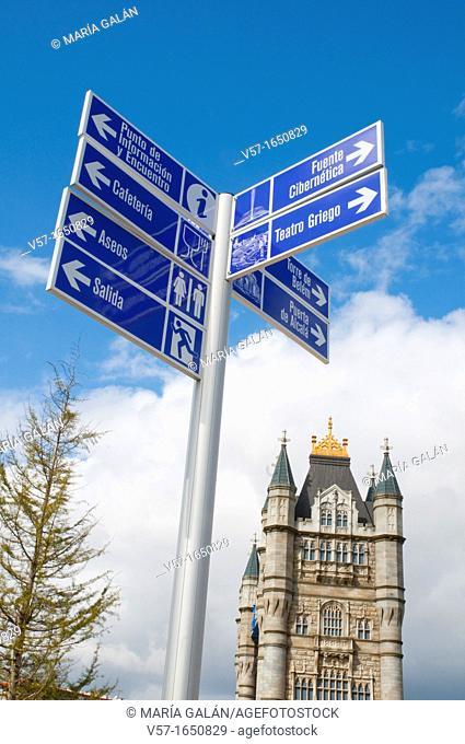 London Tower Bridge and signpost. Parque Europa, Torrejon de Ardoz, Madrid province, Spain