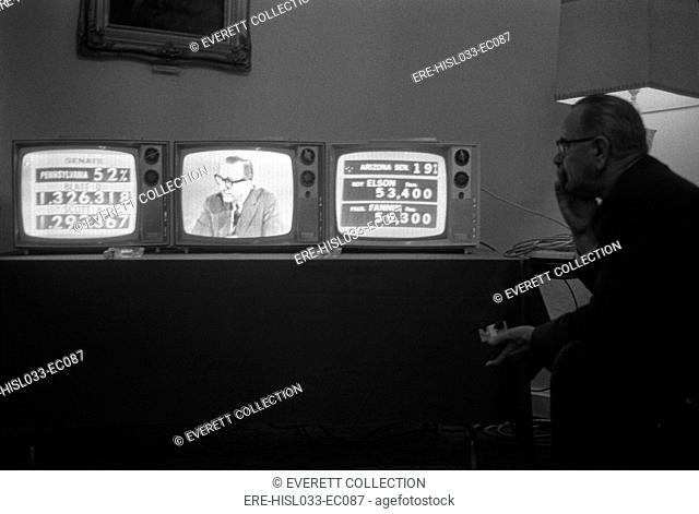 1964 Presidential Election. President Lyndon Johnson watches election returns on three television sets in his suite at the Driskill Hotel, Austin, Texas