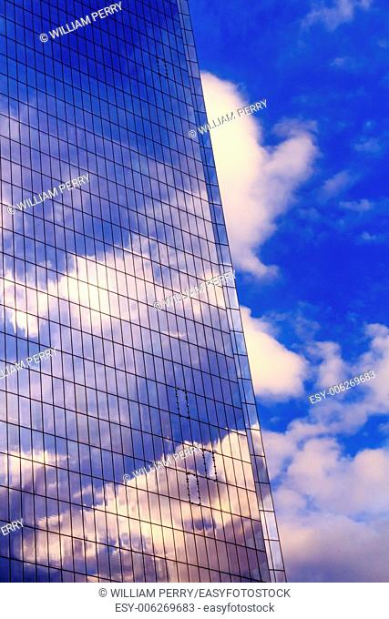 New World Trade Center Glass Building Abstract Skyscraper Blue Clouds Reflection New York City NY