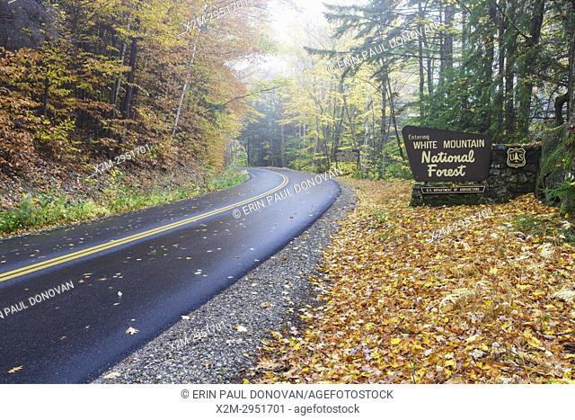 Entering the White Mountain National Forest sign along Tripoli Road in Thornton, New Hampshire USA during the autumn months