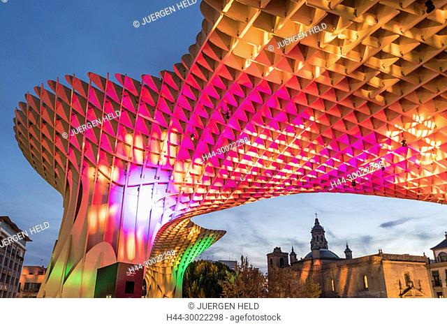 Metropol Parasol at the Plaza de la Encarnacion in Seville, J. Mayer Hermann architects, bonded timber with polyurethane coating, editorial only, Seville